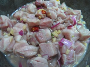 Kinilaw... mainly raw fish or meat that's seasoned
