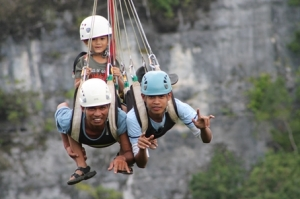 Afraid of heights? Try the zip line...