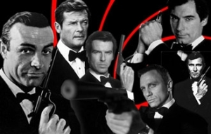 Clockwise top-left: Daniel Craig, Sean Connery, George Lazenby, Timothy Dalton, Roger Moore, and Pierce Brosnan