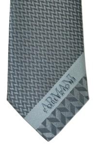 Armani Tie Gray Herringbone