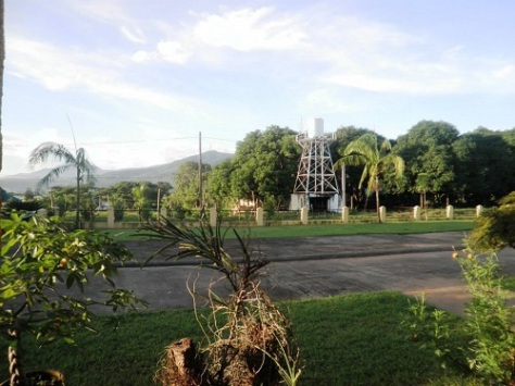 The water tank and the overlooking view of the Mt. Samat Shrine