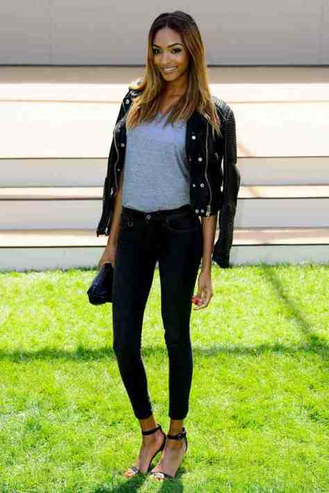 Jourdan Dunn: leather jacket with her cool skinny jeans