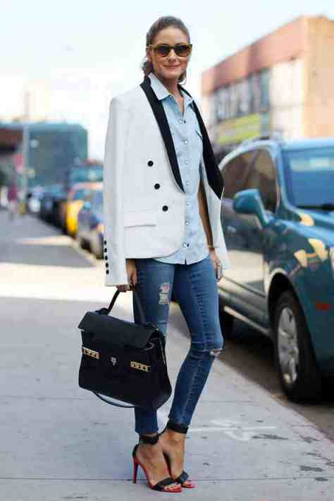 Olivia Palermo: ripped jeans and white jacket