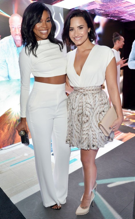 Gabrielle Union and Demi Lovato during a Samsung launching event