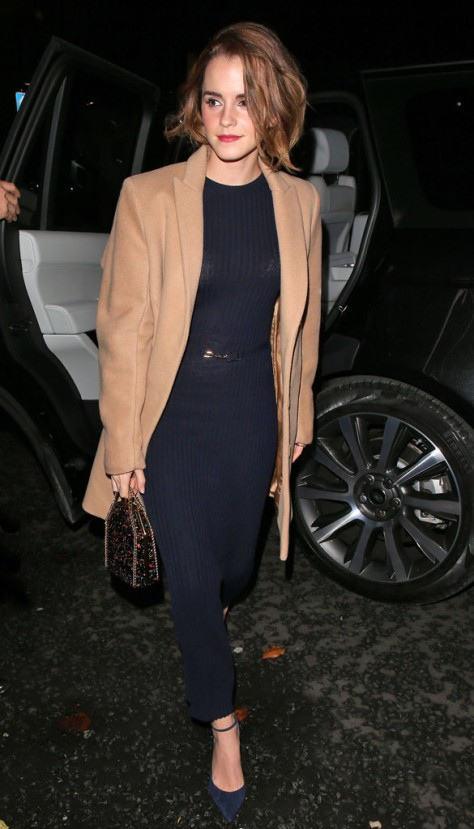 In London: Emma Watson on her way to the screening of The True Cost