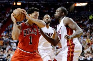 Derrick Rose against Luol Deng
