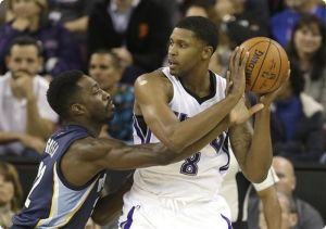 Rudy Gay (white) against Jeff Green