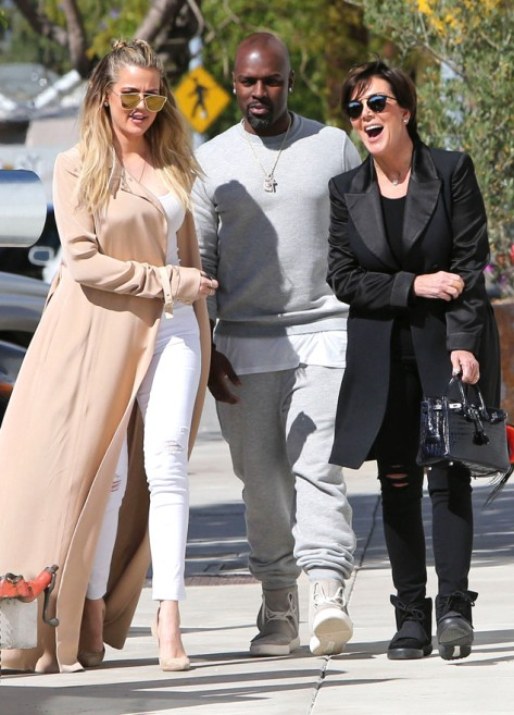 Khloe Kardashian with her mom Kris Jenner and boyfriend Corey Gamble (Photo: FameFlynet)