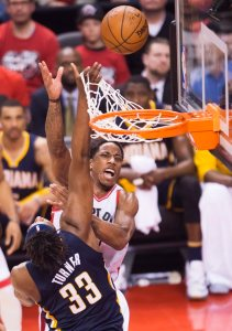One of DeRozan's 32 attempts (Nathan Denette/The Canadian Press via AP)