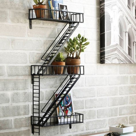 Shelf size 12in. wide, 4in. deep. Staircase length 15 1/2in. long, 1 1/2in. wide. Weight 3lbs.