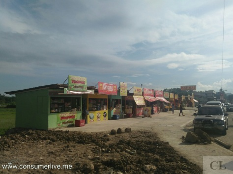 The stretch along the road where 'chicharon' is sold